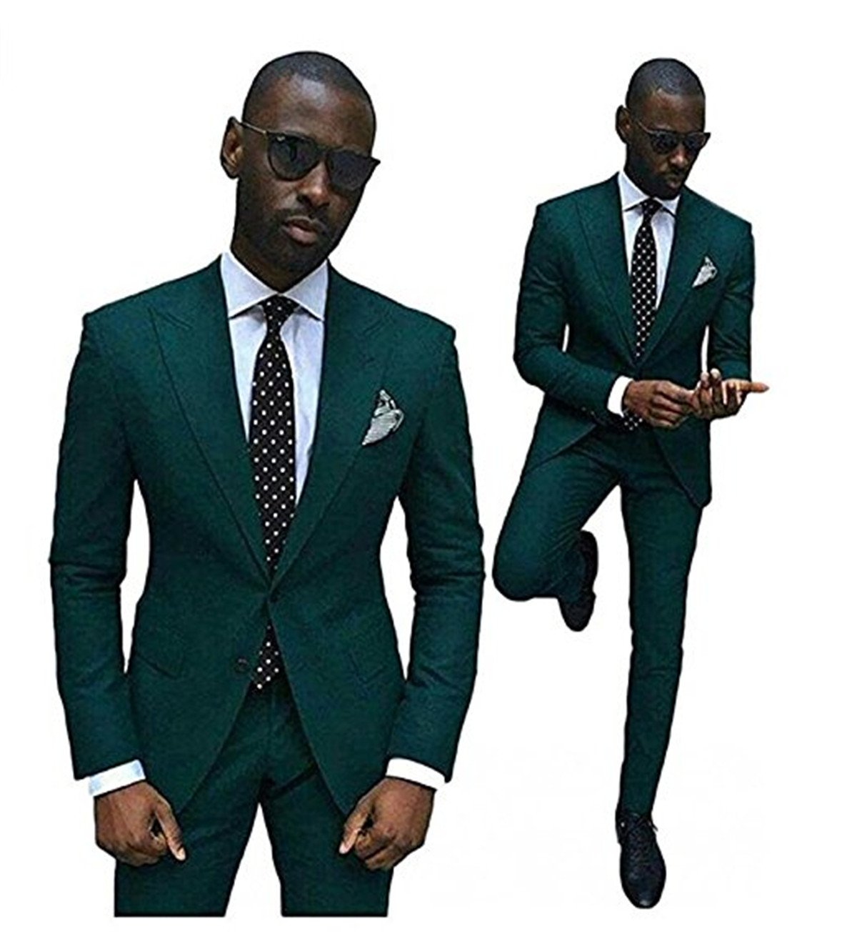 Wxili Men's Tuxedos 2 Piece Wedding Suits Noth Lapel Slim Fit 2018 New DG-M