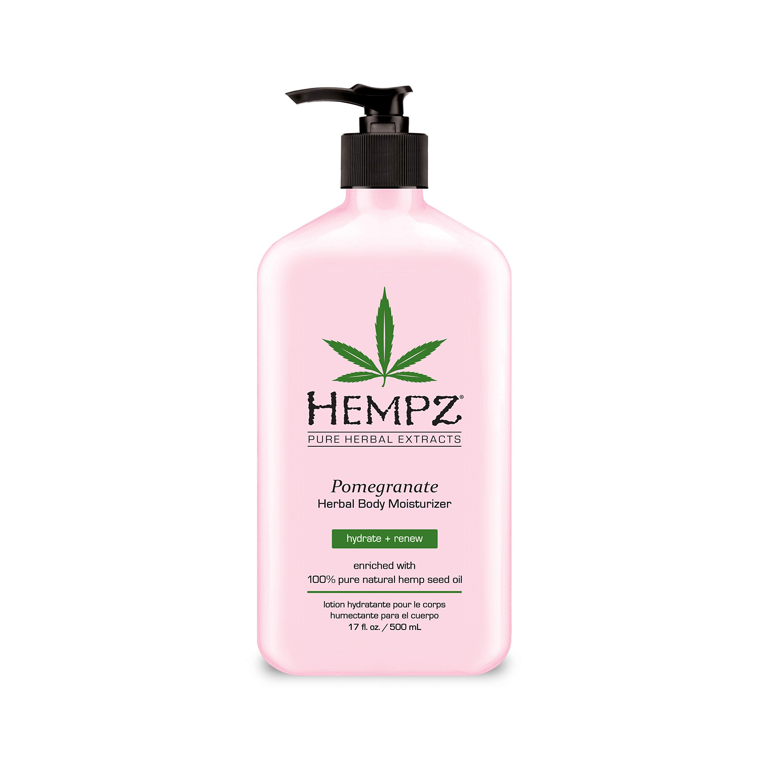 Hempz Pomegranate Herbal Body Moisturizer 17 oz. - Paraben-Free Lotion and Moisturizing Cream for All Skin Types, Anti-Aging Hemp Skin Care Products for Women and Men - Hydrating Gluten-Free Lotions by Hempz