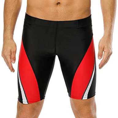e68a3517f8 CharmLeaks Swimming Trunks Men Sport Long Swim Boardshort Active Beach  Shorts, Black Red, L