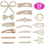 Pearl Hair Clips for Women Girls, Funtopia Fashion Sweet Artificial Pearl Barrettes Bobby Pins Snap Clips Decorative Hair Accessories for Party Wedding Daily, Applies to Bun Updo