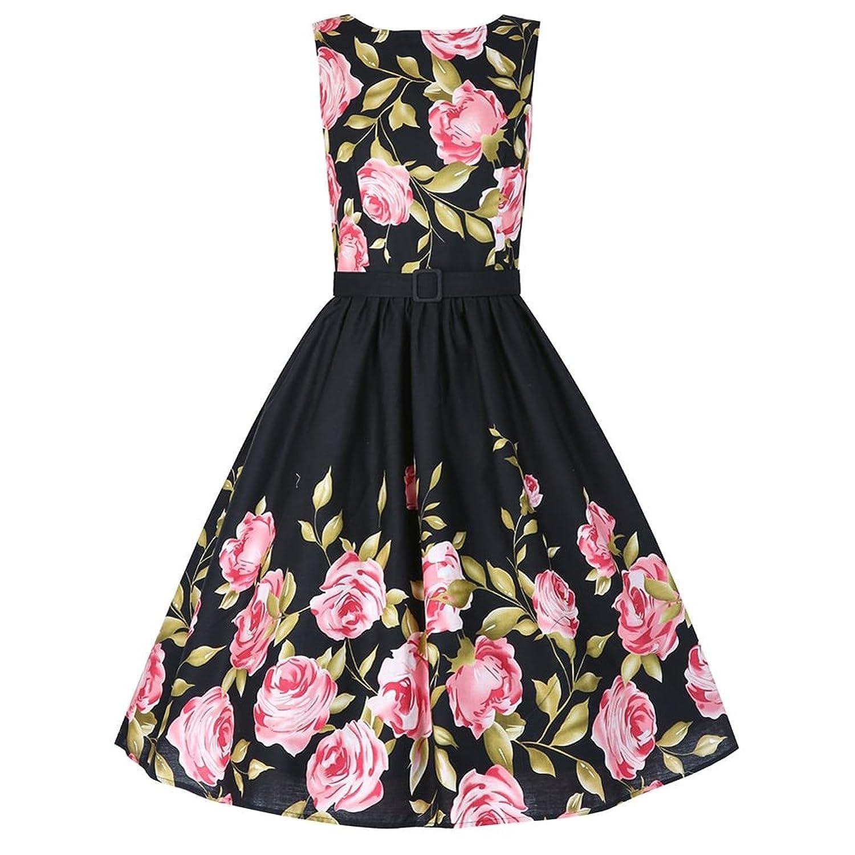 Babyonline® Damen Ärmellos Sommerkleid 1950er Retro Floral ...