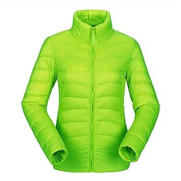 Chaqueta de plumón de pato para mujer, ajustada y ultra ligera, color verde, tamaño extra-large: Amazon.es: Deportes y aire libre