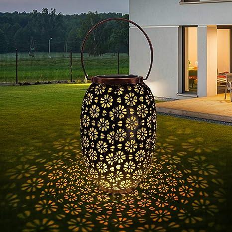 Farol Solar Exterior Jardin, Luz de Linterna LED, Lámpara Camping Recargable Portatil Colgante, Luces Decorativas para Jardín Césped Patio Festival Navidad Terraza: Amazon.es: Iluminación