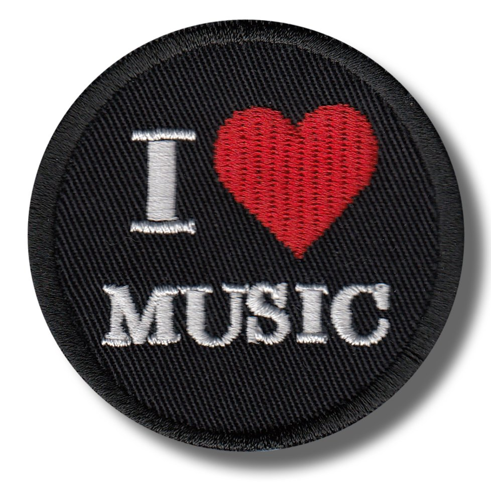 I love music - embroidered patch 6x6 cm Patch-shop