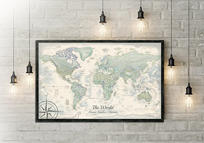 Amazon personalized world map push pin map the darwin world personalized world map push pin map the darwin world map large framed map gumiabroncs Gallery