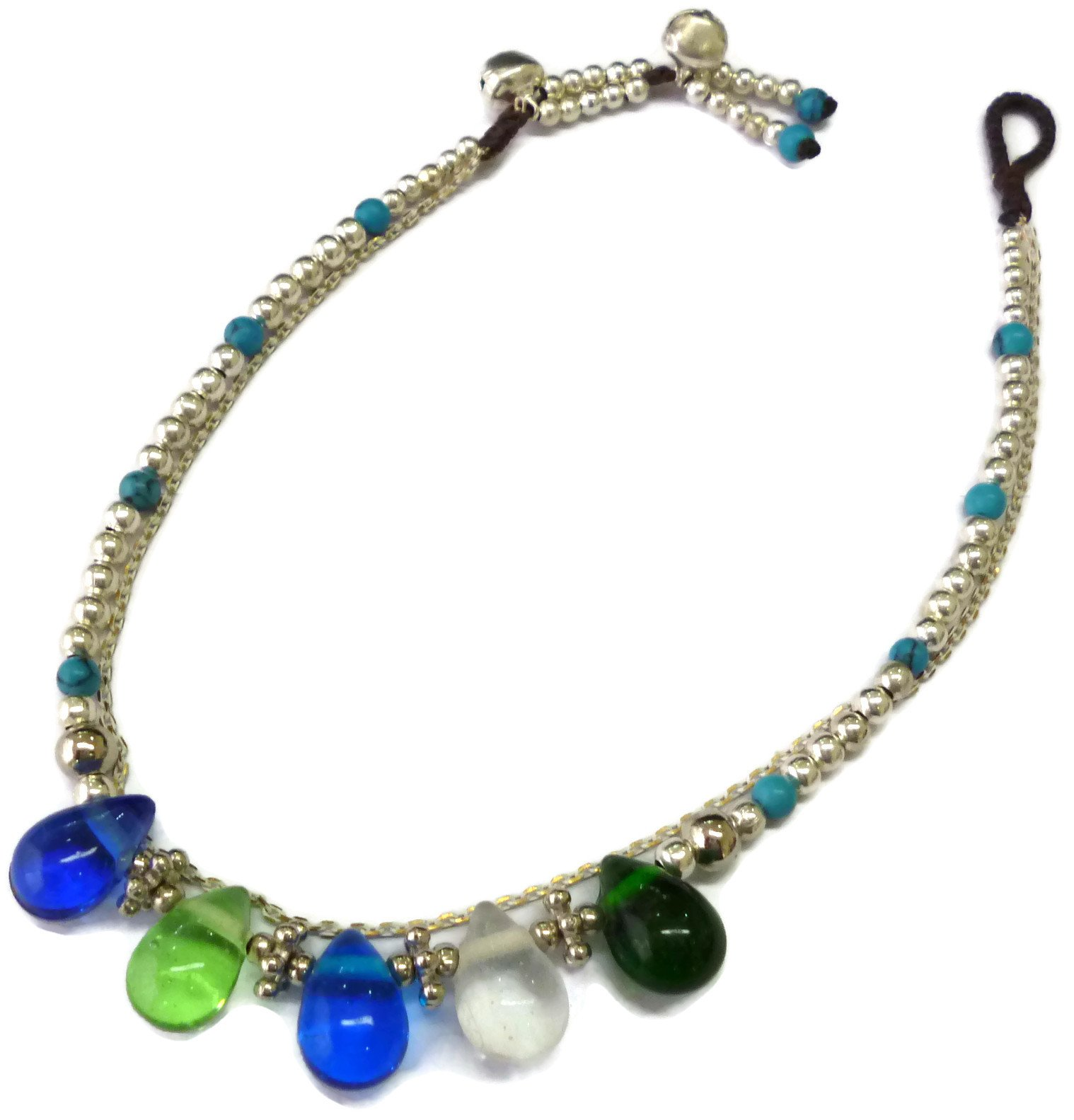 Moose546 Glass Teardrop Charms and Bells Boho Ankle Bracelets with Beads 11 Inches Beach Anklets for Women AK-011 (Blue and Green)