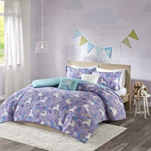 Urban Habitat Kids Lola Full/Queen Duvet Cover Set Girls Bedding - Purple, Aqua, Unicorns – 5 Piece Kids Girls Duvet Set – 100% Cotton Bed Duvet Covers