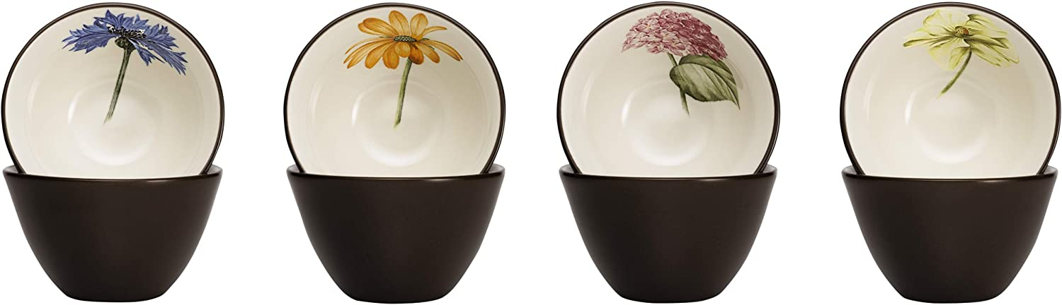 Noritake Colorwave Floral Bowl, 4-Inch, Chocolate, Set of 4