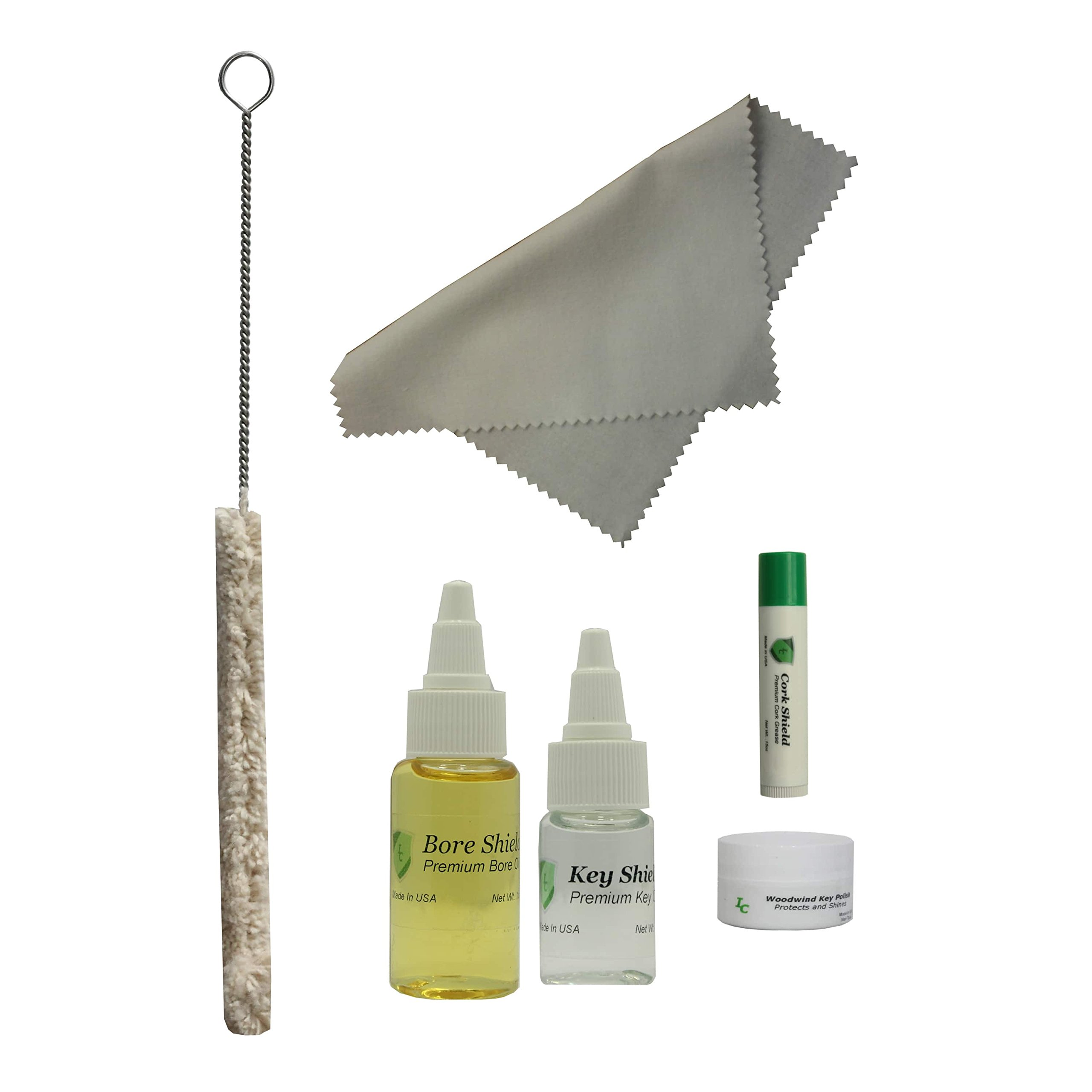 Clarinet Care Kit, Bore Oil, Key Oil, Polishing Cloth, Cork Grease, Cotton Swab, Fits Bb Clarinets