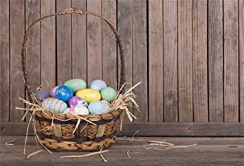 AOFOTO 6x4ft Easter Eggs In Rustic Basket Photography Background Vintage Wooden Board Backdrop Kid Baby Child