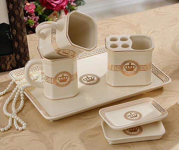 YYY WLQ cuarto de baño europeo de cinco piezas - suministros de baño de cerámica - kit de cepillo de dientes del baño - cepillarse los dientes colada traje ...
