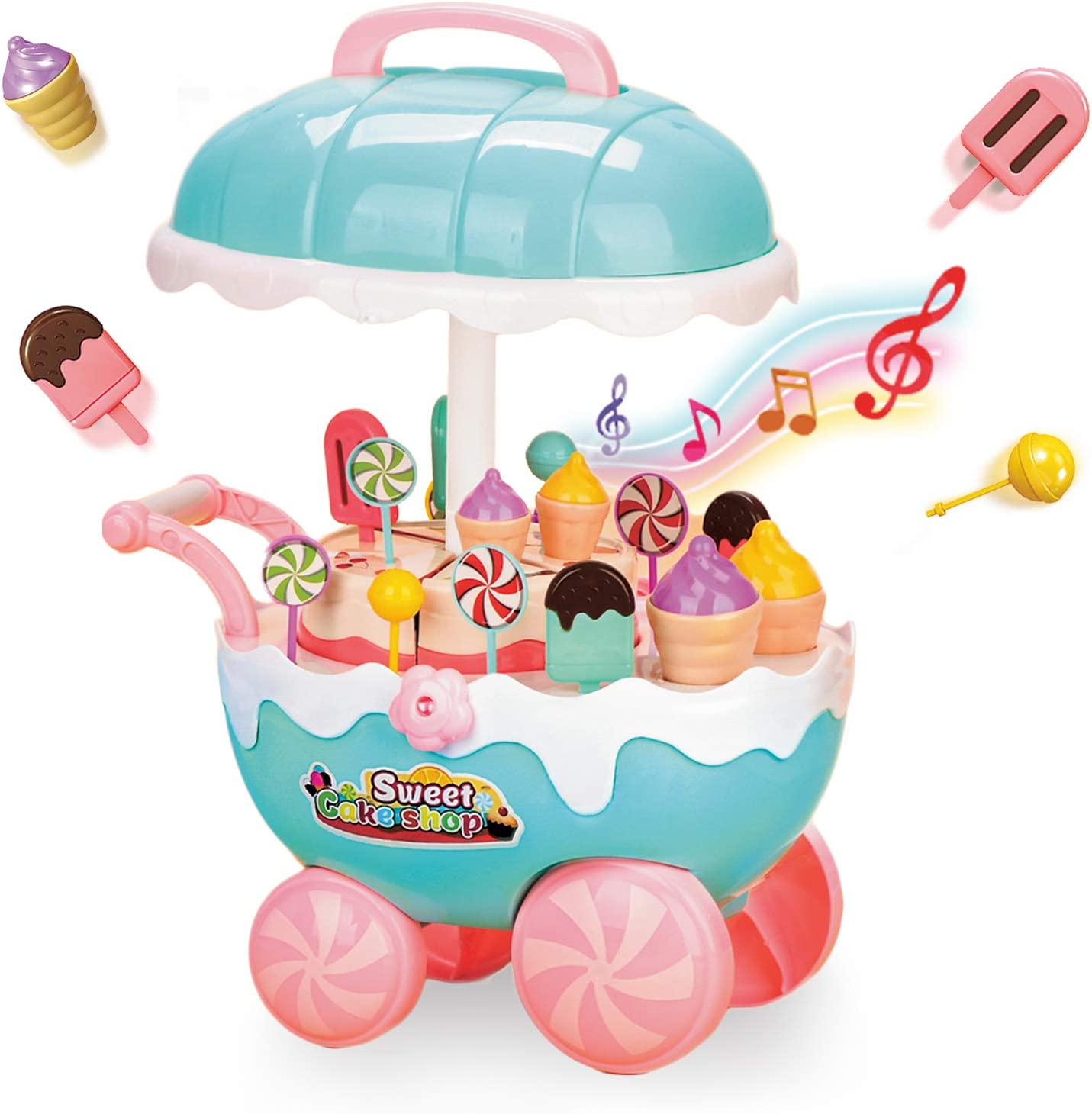 YOUTHZH Ice Cream Candy Cart Educational Pretend Play Food with Music and Lighting Educational Trolley Table Toys Learning Mini Cart Food Truck Great Gift for Girls and Boys Ages 2 - 8 Years Old
