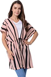 e89efb6eb27de Shop LC Delivering Joy Pink and Black Stripe Pattern 100% Polyester Kimono  with Rope 31.5