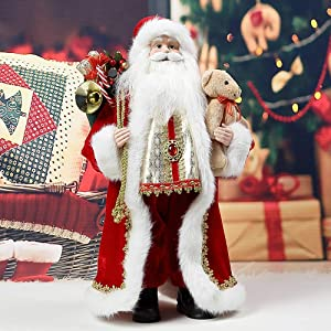 "18"" Santa Claus w. Bear Christmas Decor Figure- Uten Holiday/Party/Home Decoration"
