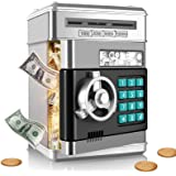 SHOMOTE Kids Stuff Piggy Bank, Auto Scroll Paper Money ATM, Electronic Real Coin Bank with Safe Password Lock, Plastic Large