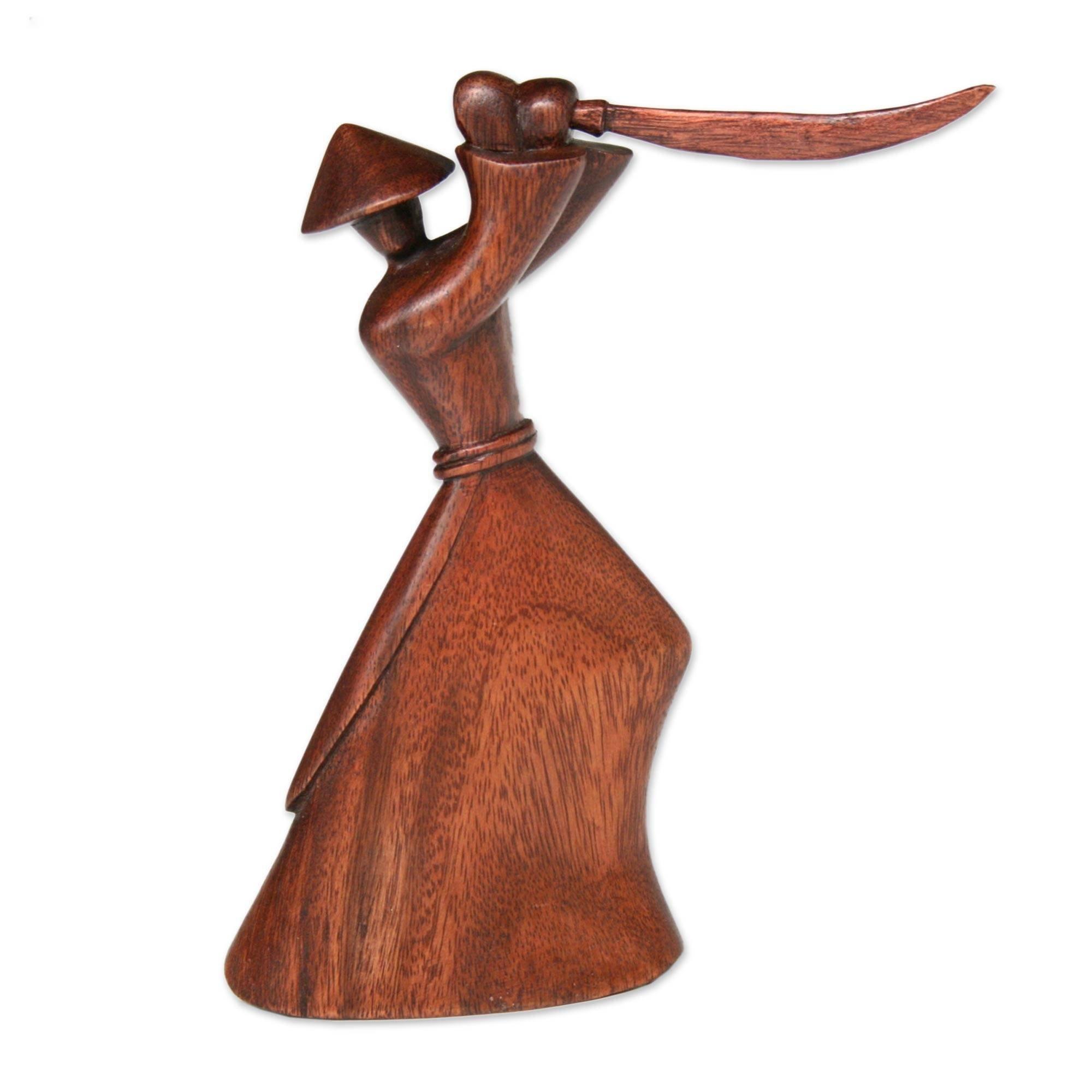 NOVICA Hand Carved Brown Natural Grain Suar Wood Warrior Sculpture, 7.75'' Tall 'Samurai Strategy'