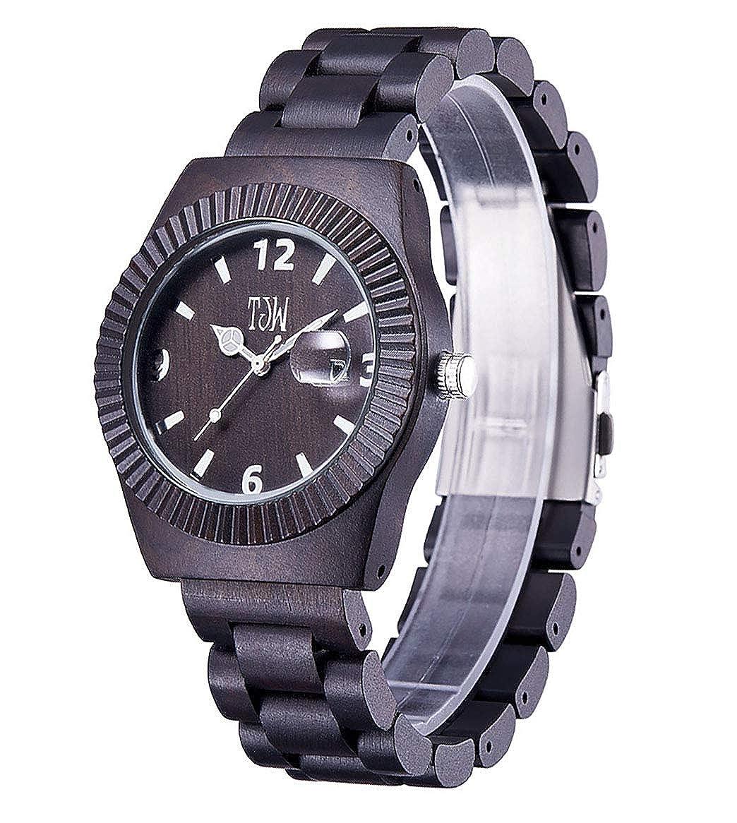 Reloj de Madera de sándalo de ébano, Reloj de Madera Natural Hecho a Mano Vintage, Reloj de Madera de sándalo para Hombre jinyuebrand