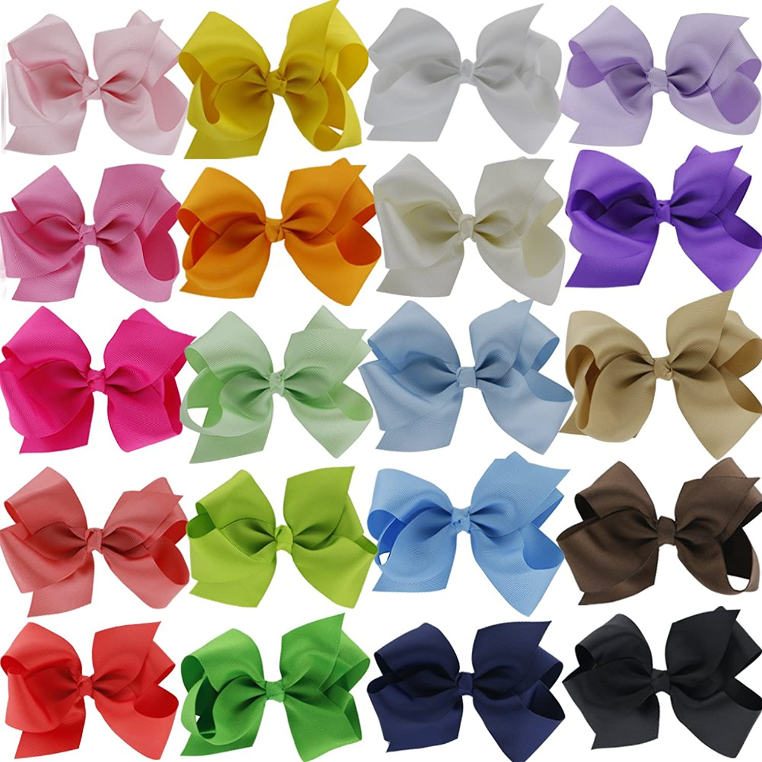 "QingHan 4.5"" Hair Bow Clips Grosgrain Ribbon Boutique Bows for Girls Babies Teens Kids Toddlers Pack of 20"