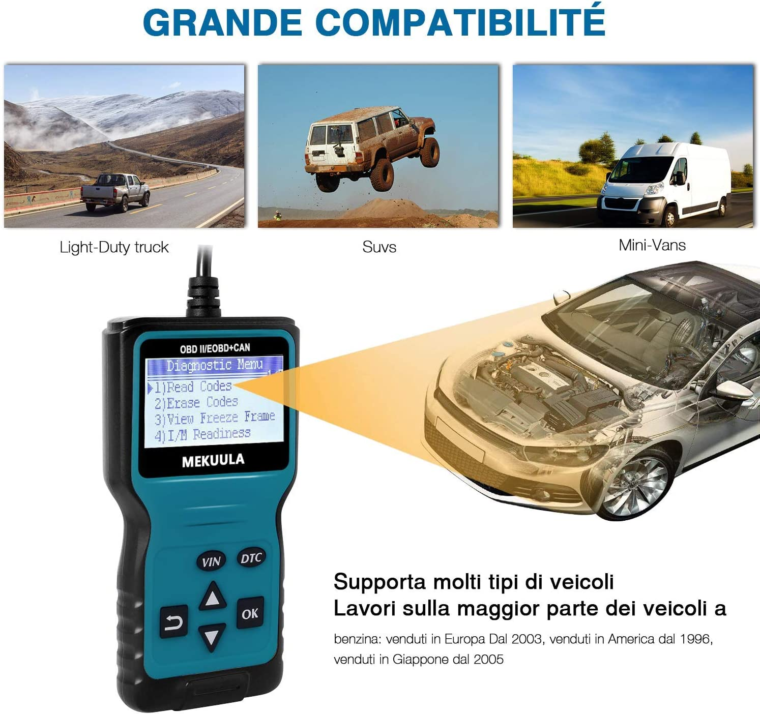 Obdii Car Engine Code Reader OBD2 Scanner CAN Auto Diagnostic Scan Tool Verifica Engine Light Display veicolo Realtime Curve V310
