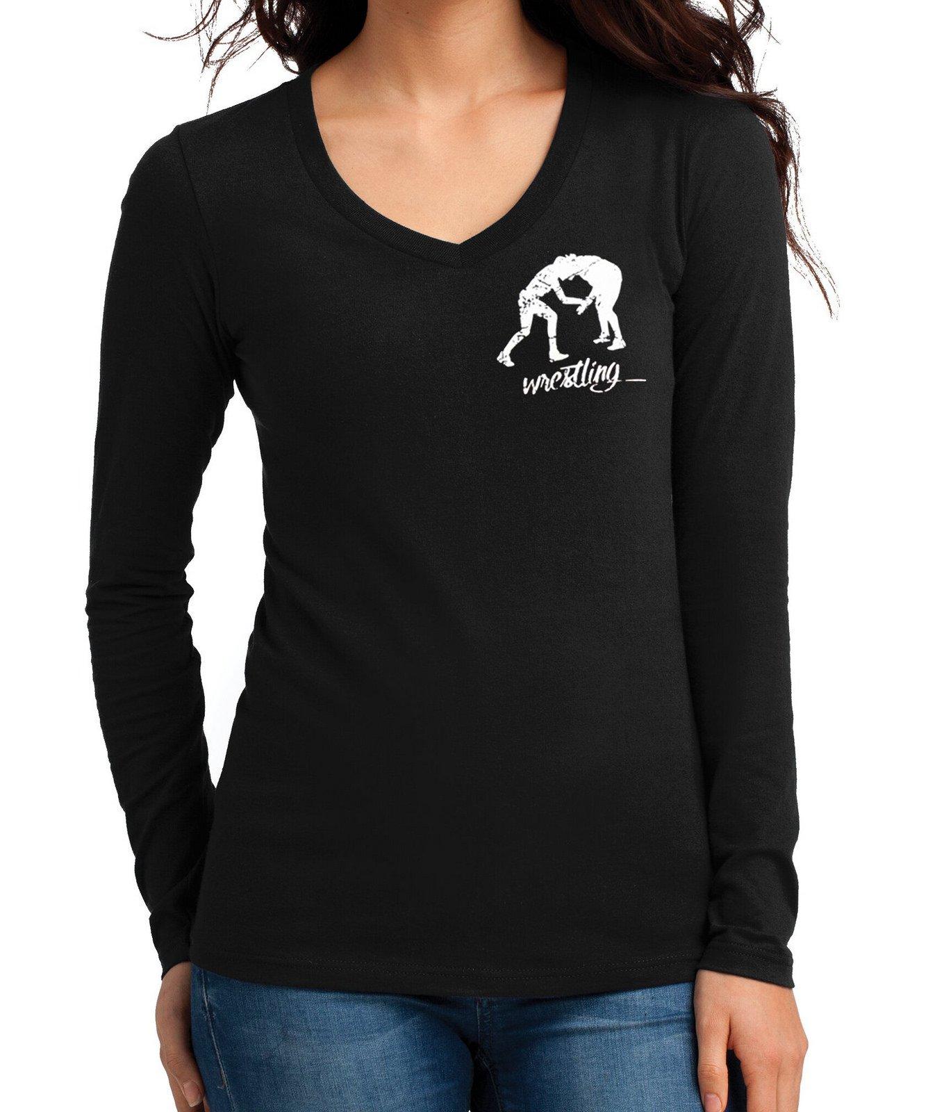 Junior's MMA Wrestling Emblem Tee Black Long Sleeve V-Neck T-Shirt Medium Black