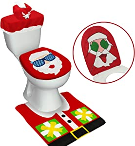 TURNMEON 4 Pieces Christmas Santa Toilet Seat Cover Christmas Decorations, Double Sided 3D Funny Santa Reindeer Toilet Seat Lid Cover and Thicken Rug Set Christmas Bathroom Decor Xmas Home Indoor Red