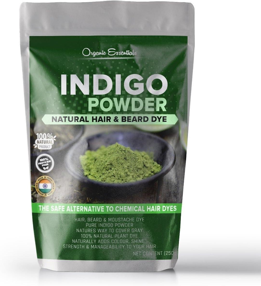 Orgánica Essentials Indigo polvo para cabello y tinte de barba – negro (250 gramos)