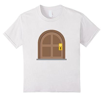 Kids Door Emoji T-Shirt Cartoon Gold Lock Key Knob House Wood 10 White