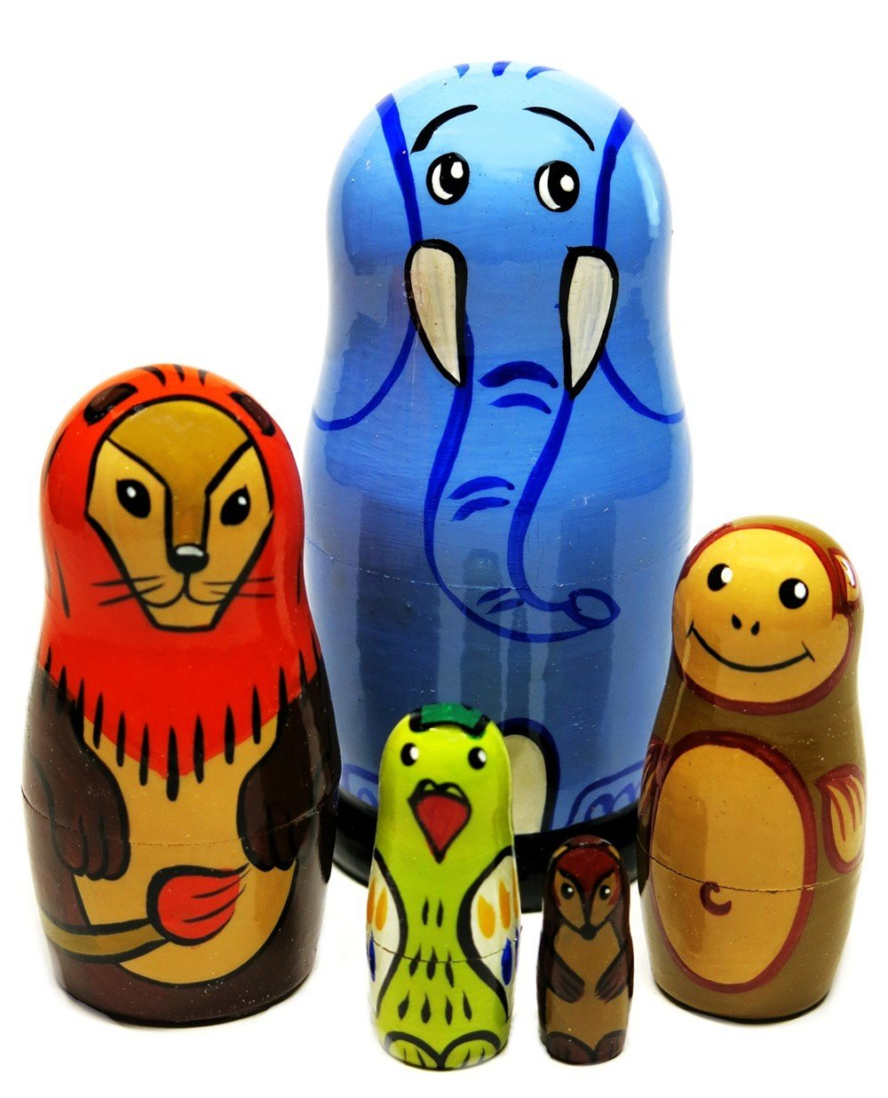 African Safari Animals 5-Piece 4.5'' Russian Nesting Doll Elephant Lion Monkey Children Educational Toy Set