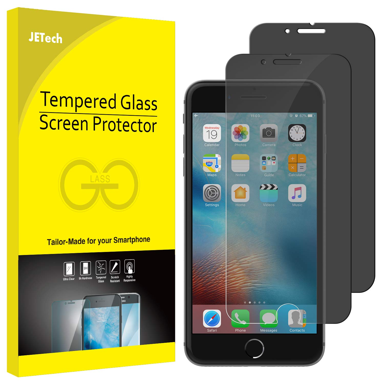 JETech Privacy Screen Protector for Apple iPhone 7 and iPhone 8, Anti-Spy Tempered Glass Film, 2-Pack by JETech