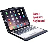 iHarbort® Apple iPad Pro 12.9 Case - Multi-Angles Smart Cover Holder Stand Leather Case for Apple iPad Pro 12.9 + with a QWERTY Bluetooth keyboard (iPad Pro 12.9, Black+keyboard)