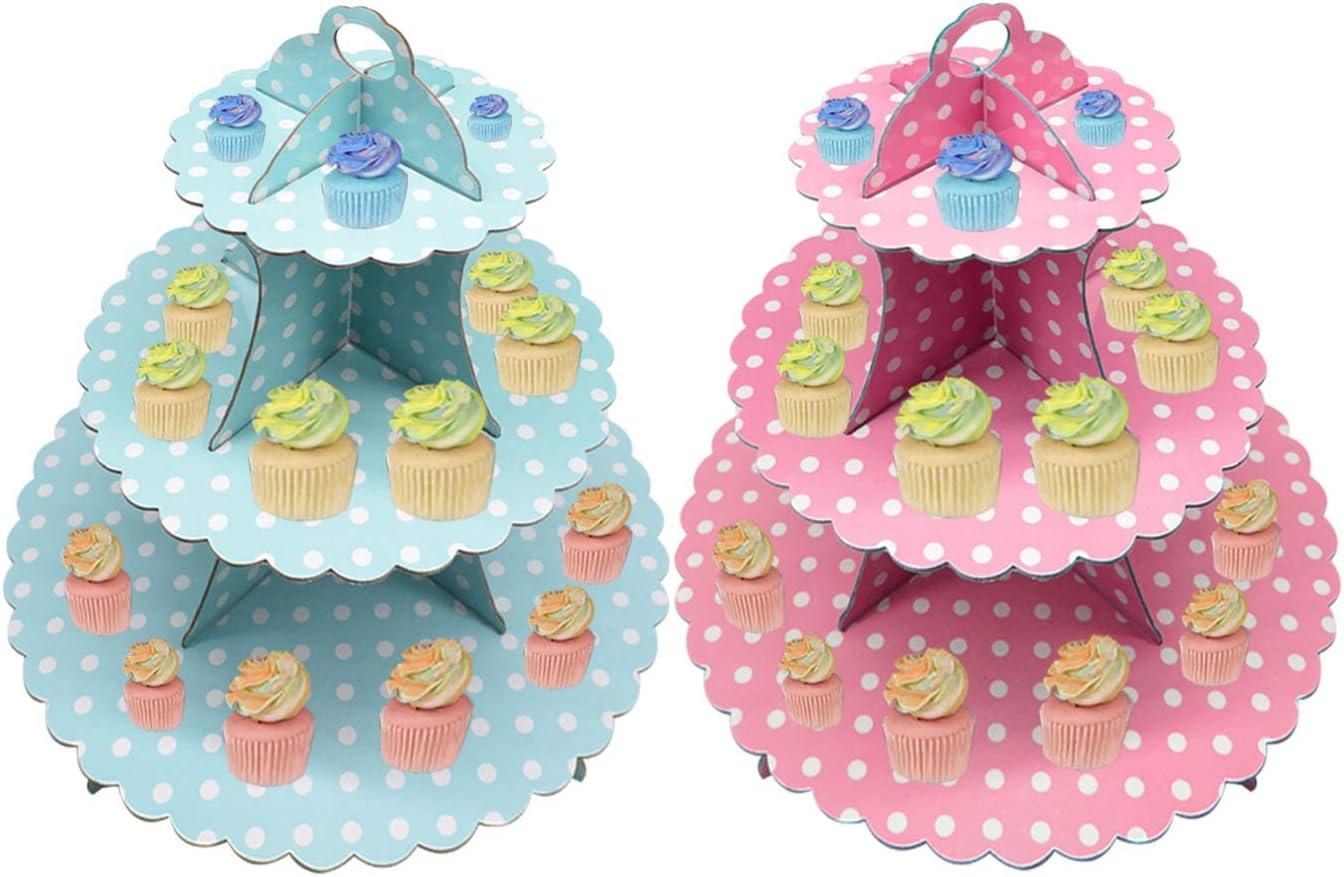USA e Getta Pois Rosa Supporto per Dessert Torte per Baby Shower Compleanni Feste JINLE 2 Pezzi Alzata per Cupcake Cartone 3 Piani