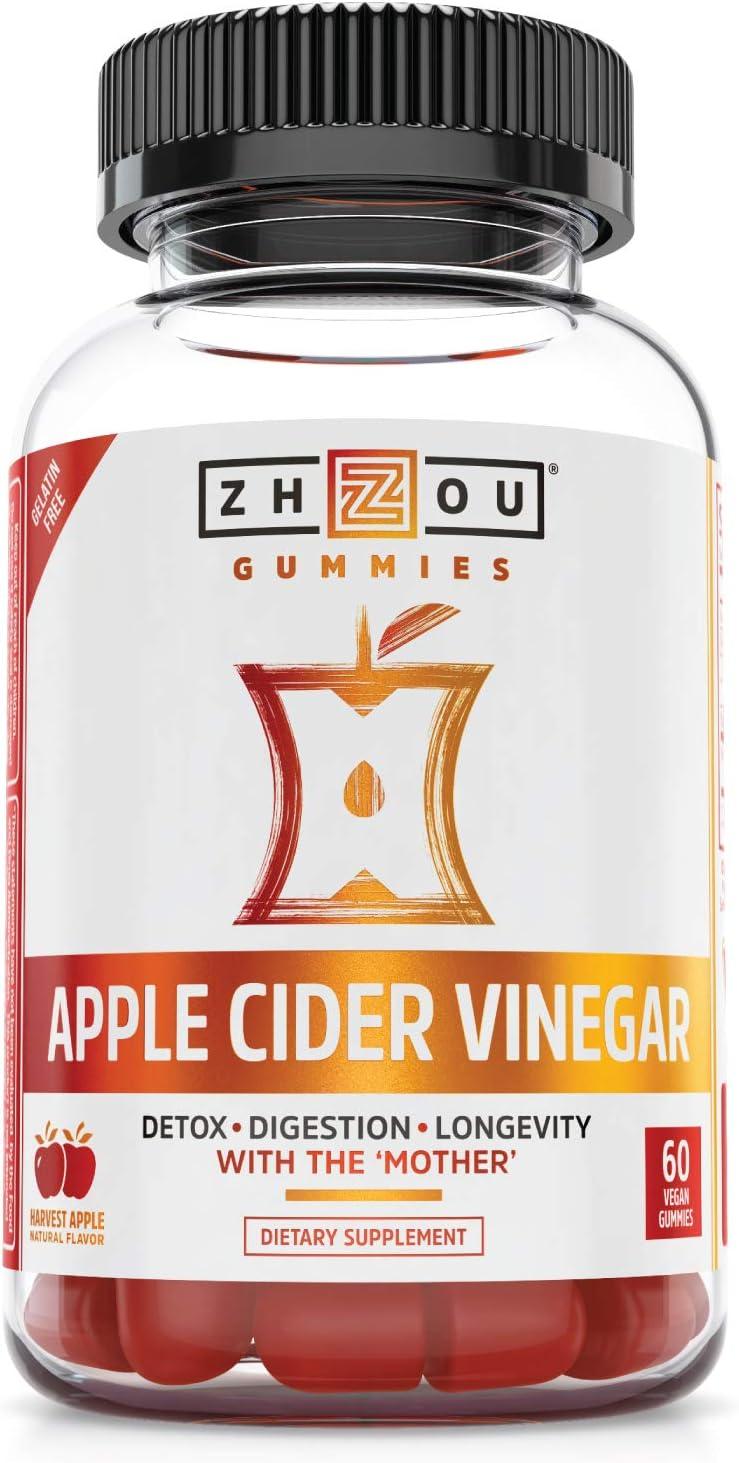 Zhou Nutrition Apple Cider Vinegar Gummies with The Mother - ACV Vegan Detox Cleanse - Gluten Free Probiotic Supplement for Digestion Support - 60 Gummies