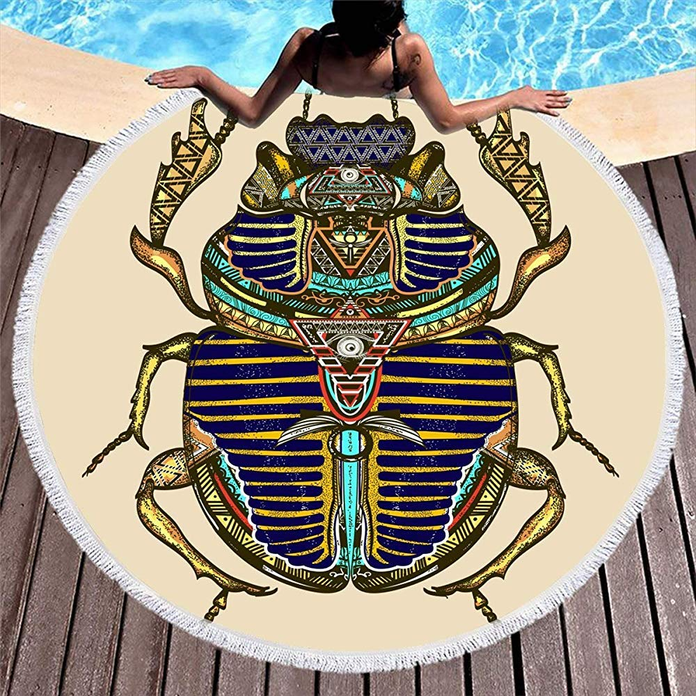 Drollpoe Redondo Toalla de Playa Borlas Color de Escarabajo ...