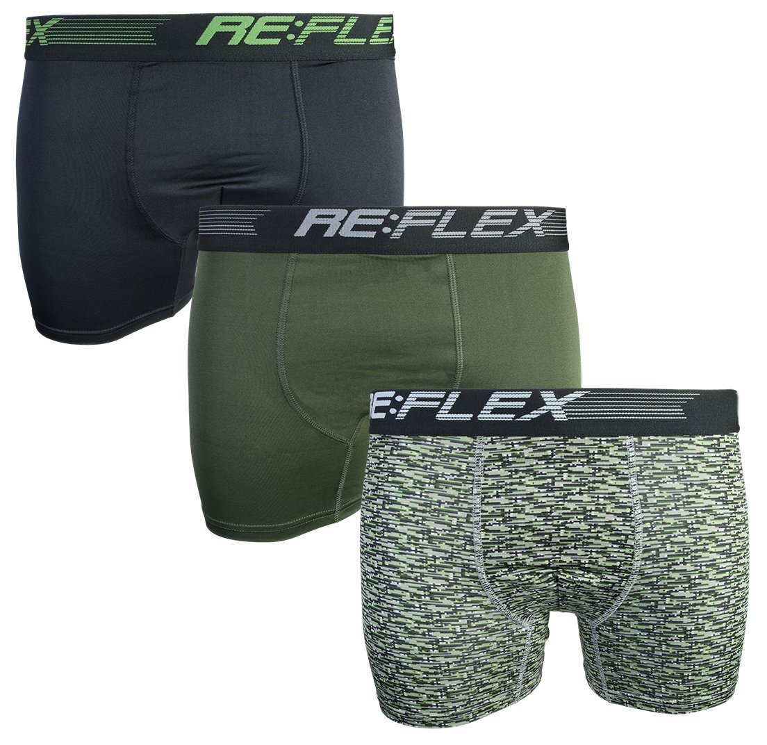Re:Flex Men's Active Performance Boxer Briefs Underwear (3 Pack) (Medium, Black/Army Green)'