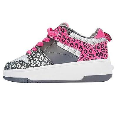 Heelys 771067P, Mädchen Lauflernschuhe Sneakers, Silver/Charcoal/Neon Pink - Größe: 36.5 EU