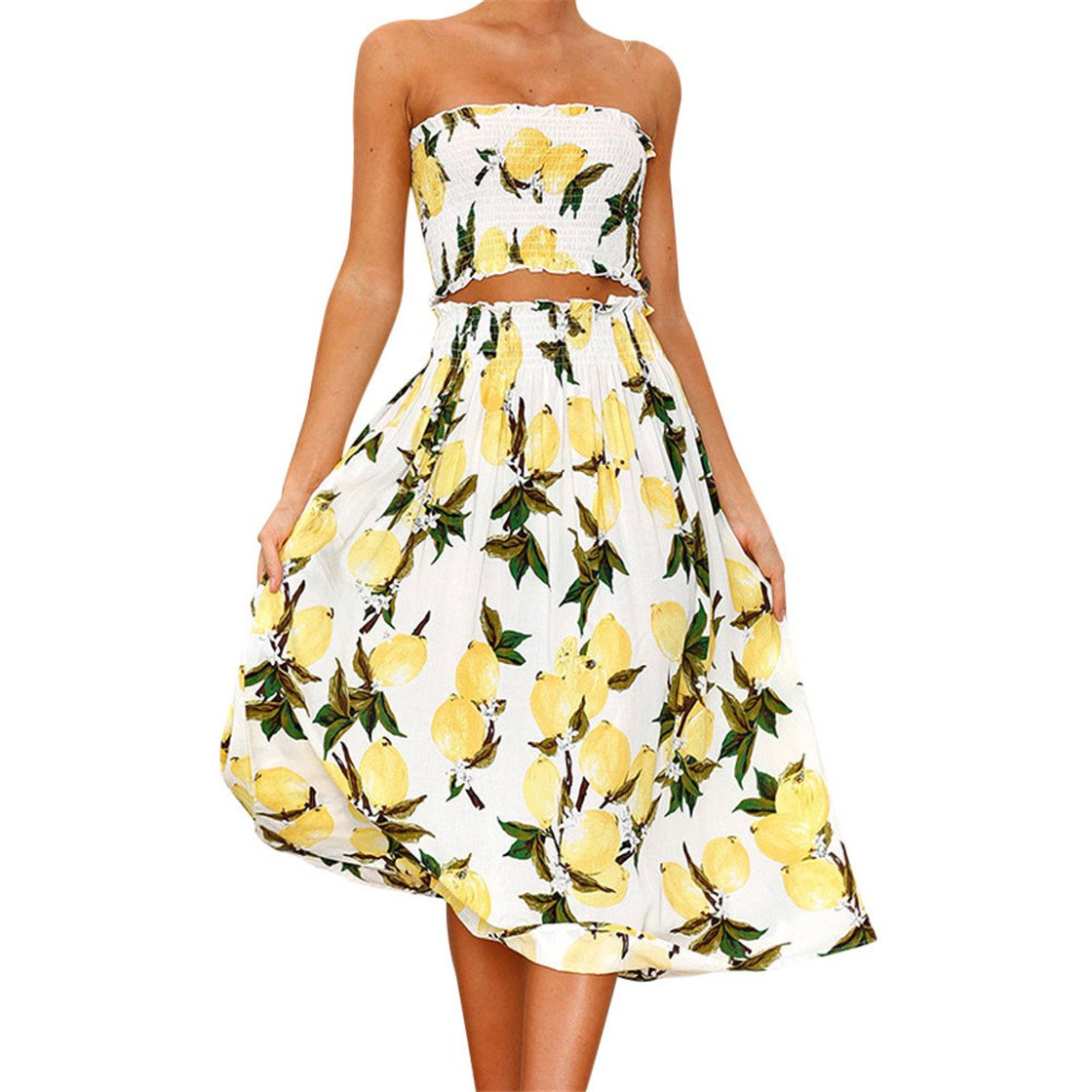 Mose Skirts for Women, Womens Lemon Print Halter Two Piece Slash Neck Tops Casual Elegant Summer Beach Vest Shirt Blouse Set New (Yellow, S)