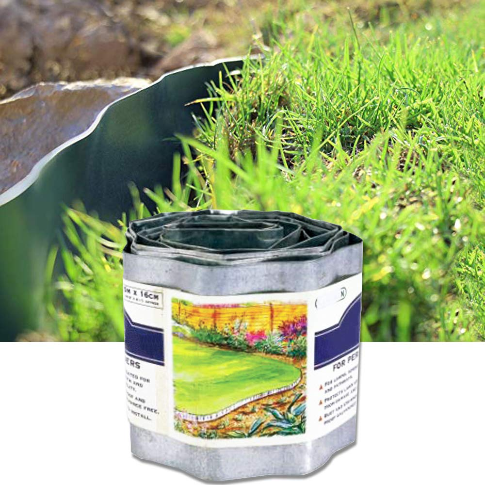 Landscape Edging Coil Galvanized Steel Lawn Edge Antirust Flexibility Sturdy for Lawns,Borders and Pathway,6.3 inch by 16 feet
