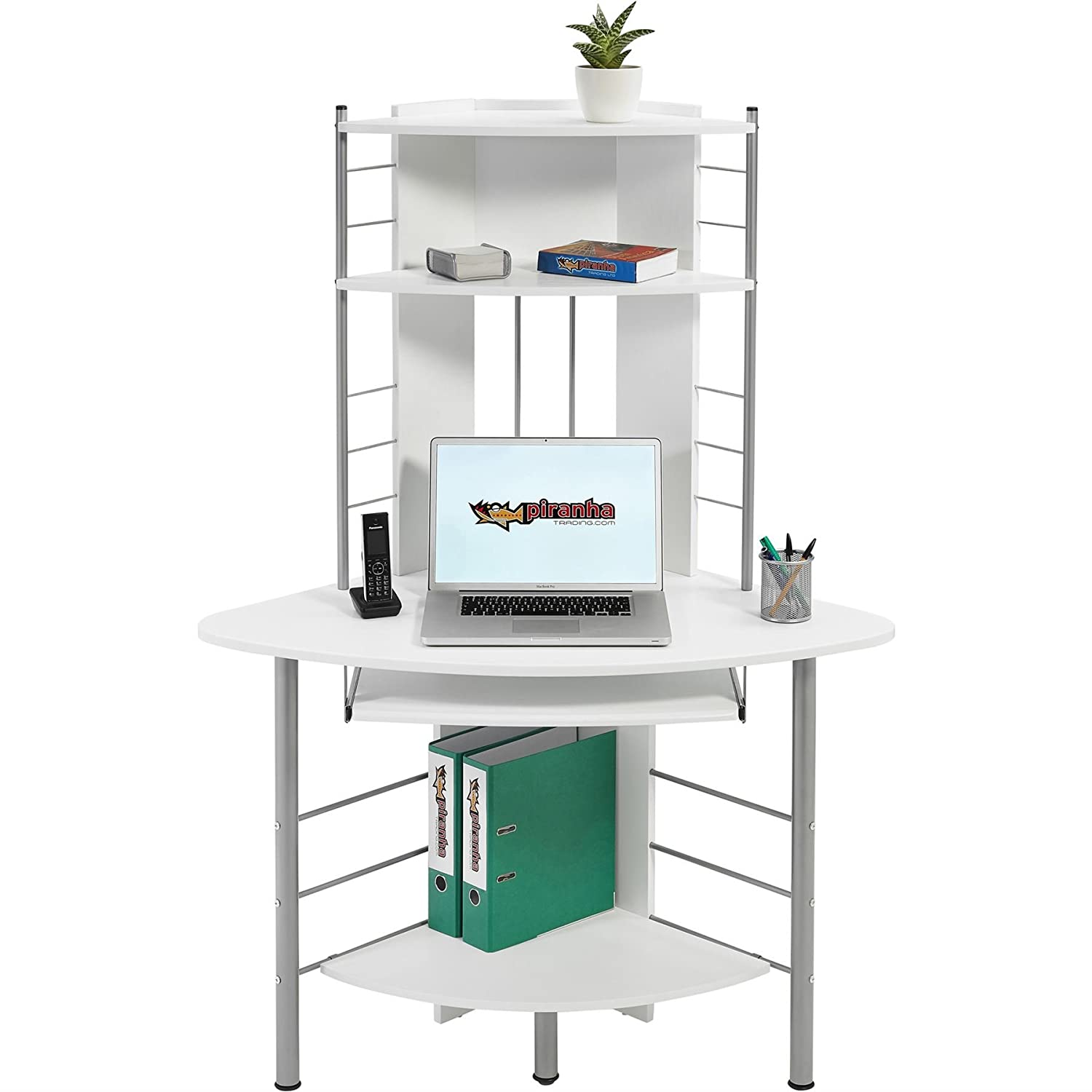 Compact corner computer desk and workstation with shelves for the home office piranha furniture oscar pc 8s amazon co uk kitchen home