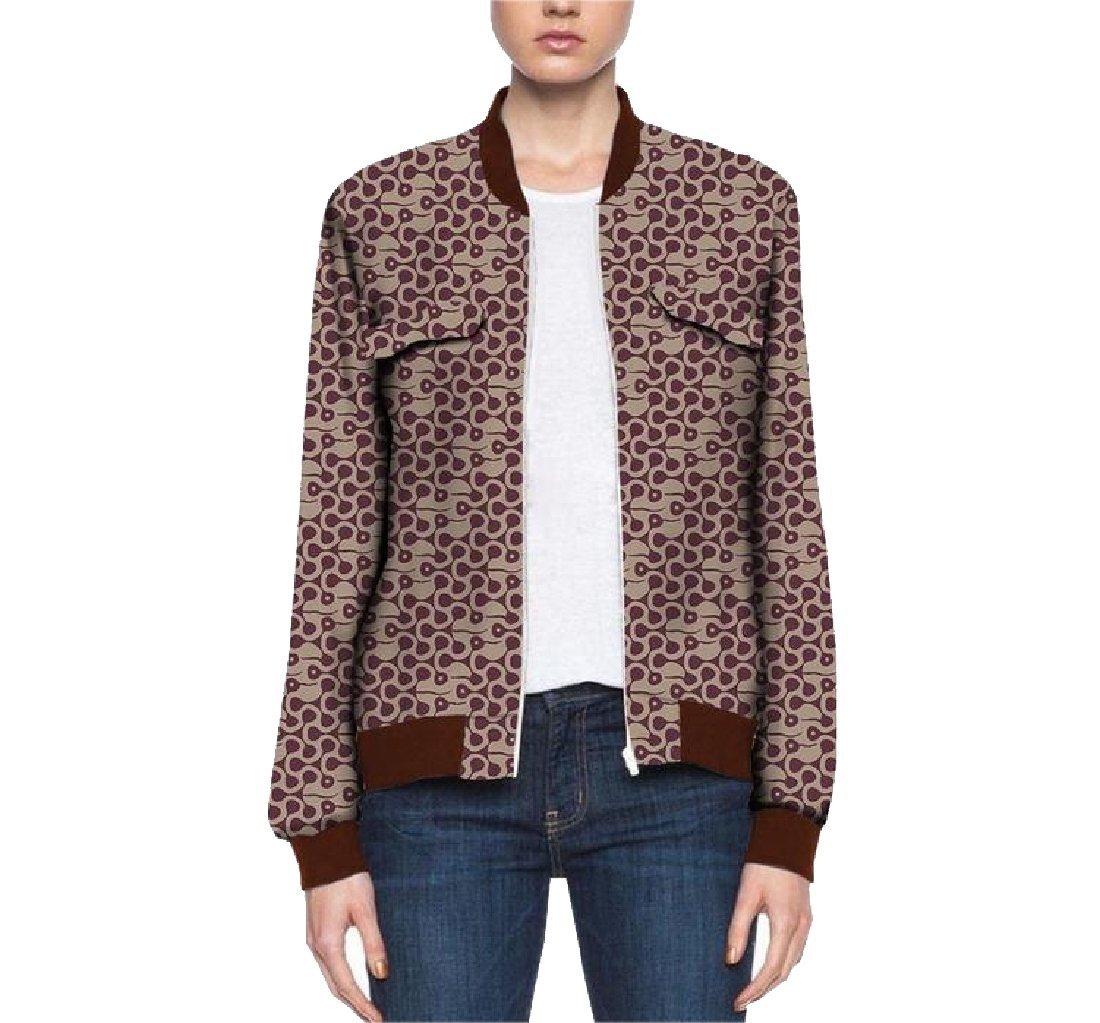 Comaba Women Cotton Outerwear Africa Zip Dashiki Fashion Baseball Jacket 8 XS