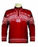 Dale of Norway Men's Dale 125th Anniversary Sweater, Raspberry/Cream/Black, Large