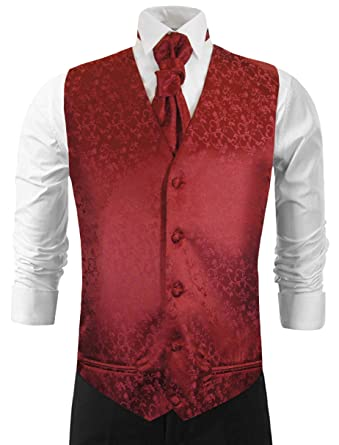 e5b5b198 Wedding Vest with Tie , Cravat, Pocket Square and Cufflinks Burgundy Small  (Chest Width