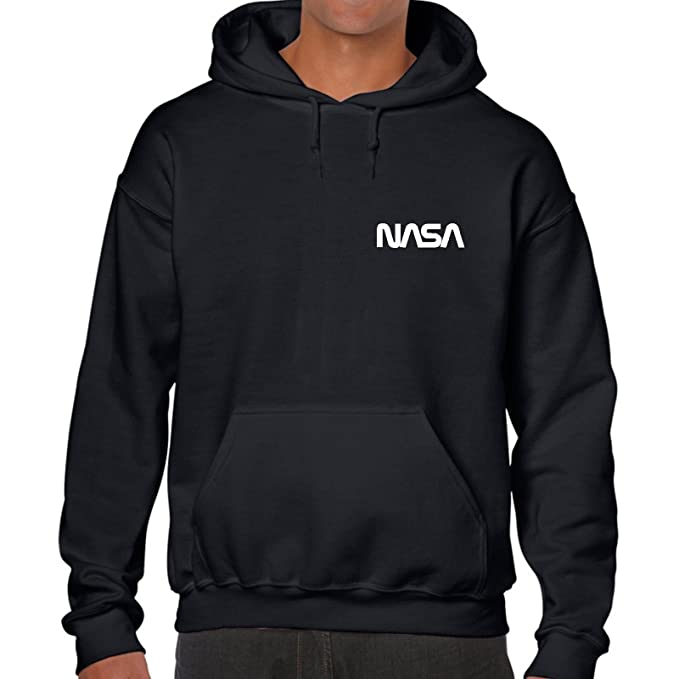 NASA Sudadera con Capucha Bolsillo Camiseta Hipster Retro Espacio Parte Superior Geek Nerd Lema Tumblr Black Logo :Orange: Amazon.es: Ropa y accesorios