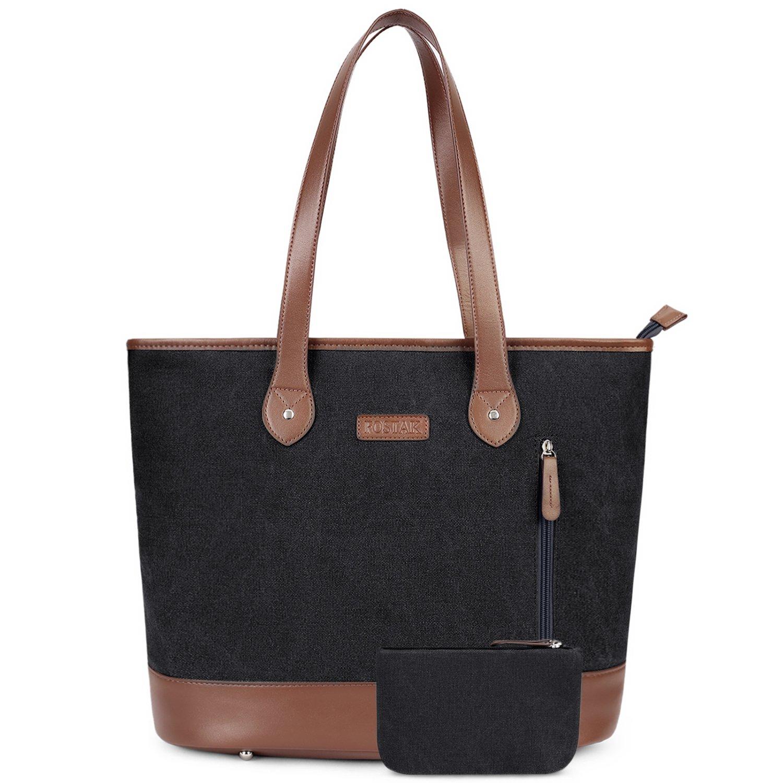 UtoteBag Women 15.6 Inch Laptop Tote Bag Notebook Shoulder Bag Lightweight Multi-pocket Canvas Business Work Office Computer Briefcase (Black)