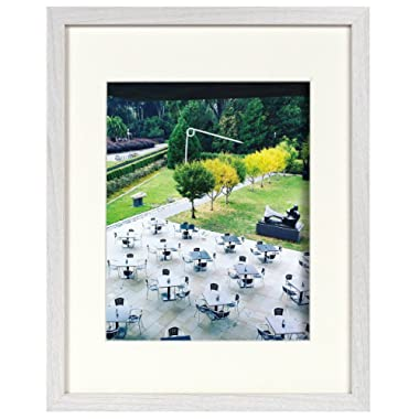 11x14 White Frame - Ivory Mat for 8x10 Photo - Smooth Wood Grain Finish - Sawtooth Hangers, Flexible Metal Tabs, Real Glass - Landscape/Portrait, Wall Display (11x14, White)