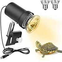 Zacro Lámpara para Tortuga, 360° Rotación Lámpara de Calor Reptil Anfibioss Lámpara de Cristal de Tortuga UVA (25W) UVB…