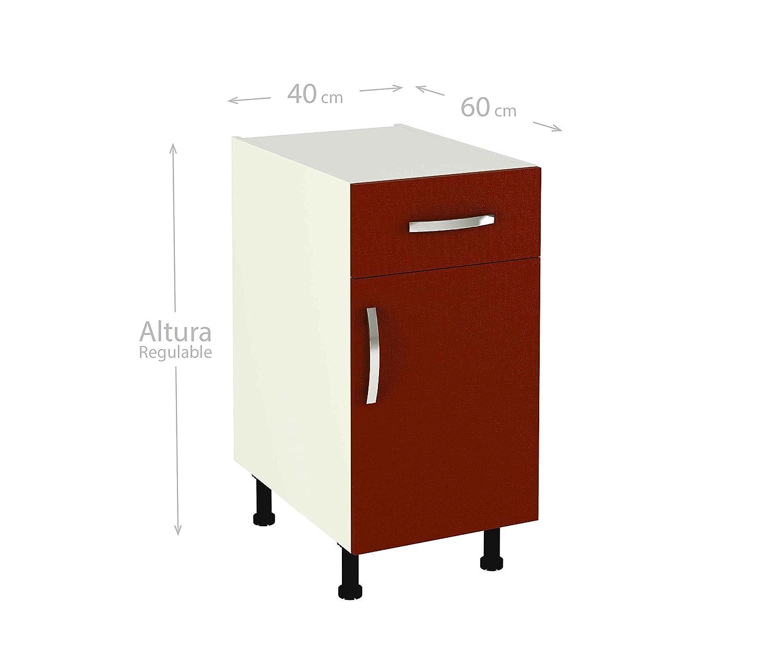 MEKA-BLOCK Módulo de Cocina con cajón y Puerta, Madera, Burdeos ...