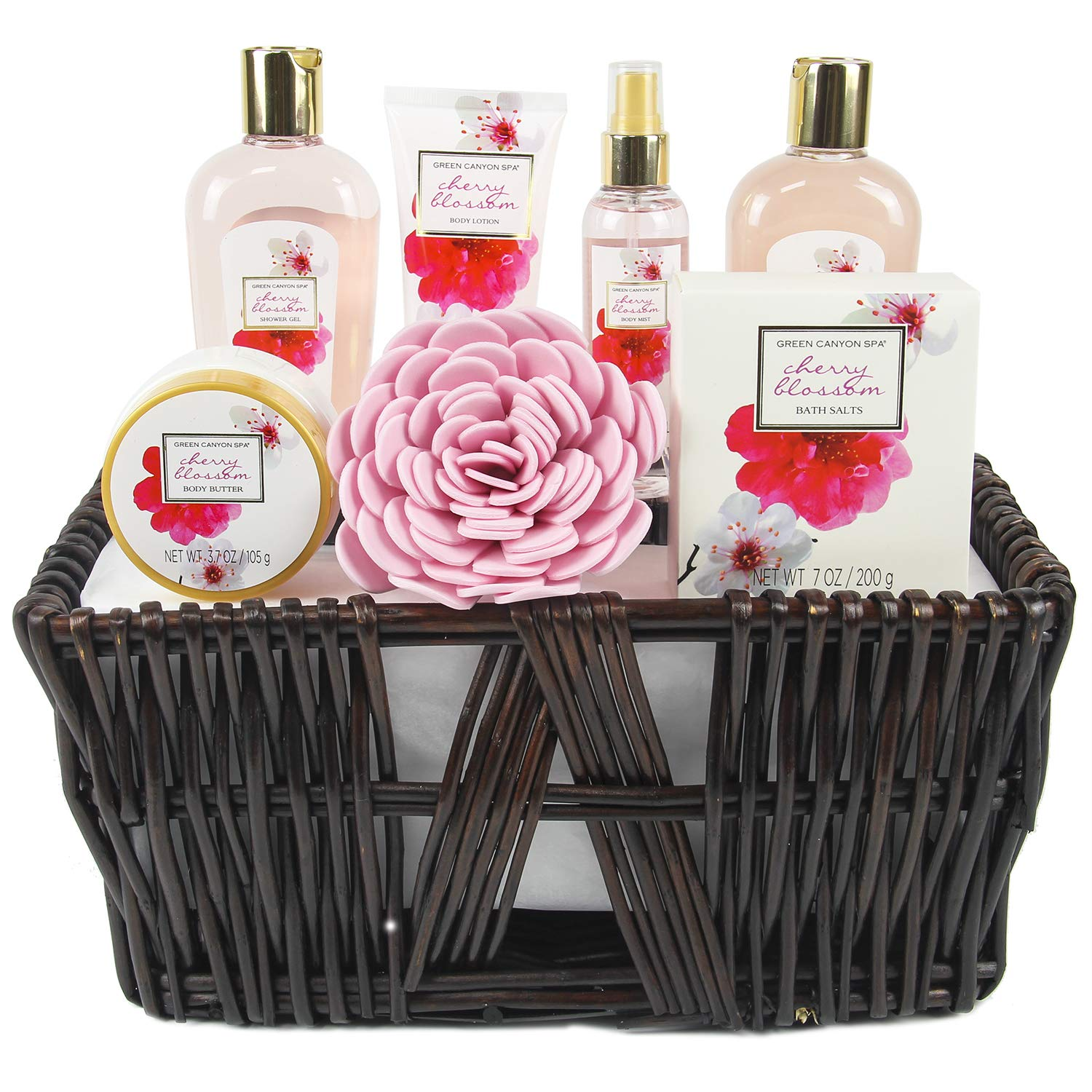 Green Canyon Spa Gift Baskets for Women Spa Gift Sets 8 Pcs Cherry Blossom Essential Oil Bath Set with Handmade Weaved Basket by GREEN CANYON SPA