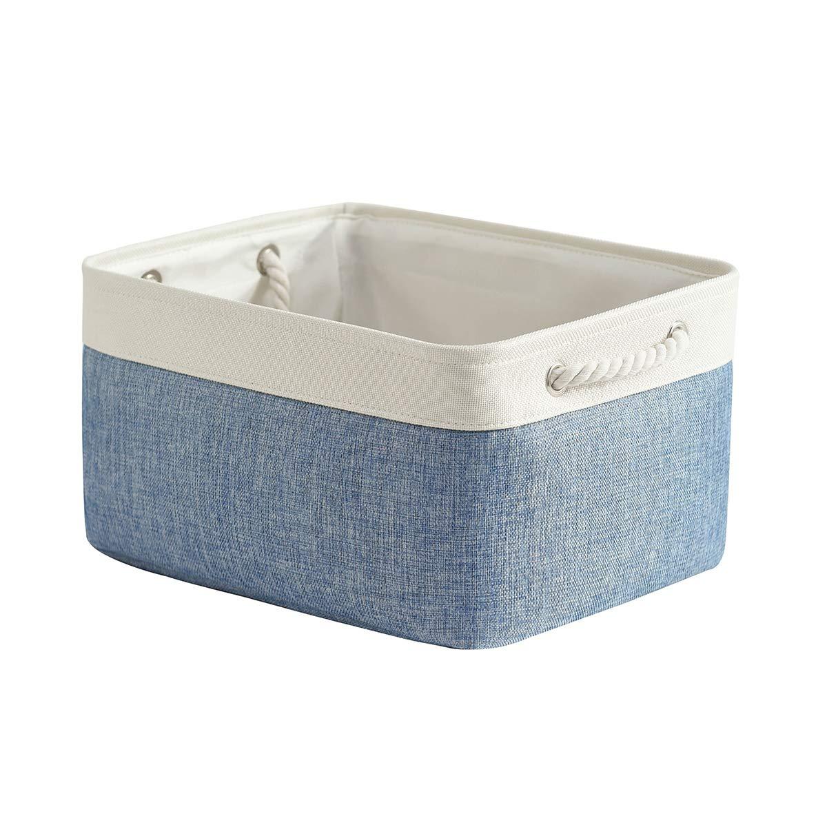 Large Fabric Basket Storage Basket Baskets for Shelves Cloth Baskets for Storage Dog Toy Basket Decorative Storage Bin for Shelf Nursery Home Closet & Office (15.7L×11.8W×8.3H inch, White&Blue)
