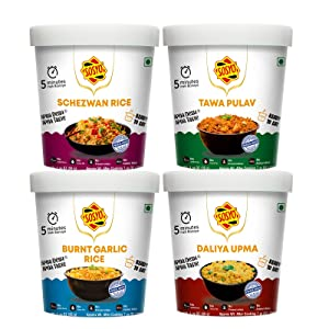 Sosyo Authentic Indian and Indo-Chinese Street Food, Vegan Ready-to-Eat, Just Add Water - All Natural, Non-GMO – Vegetarian Ready Meals & Breakfast Foods (Pack of 4; 55g/cup)