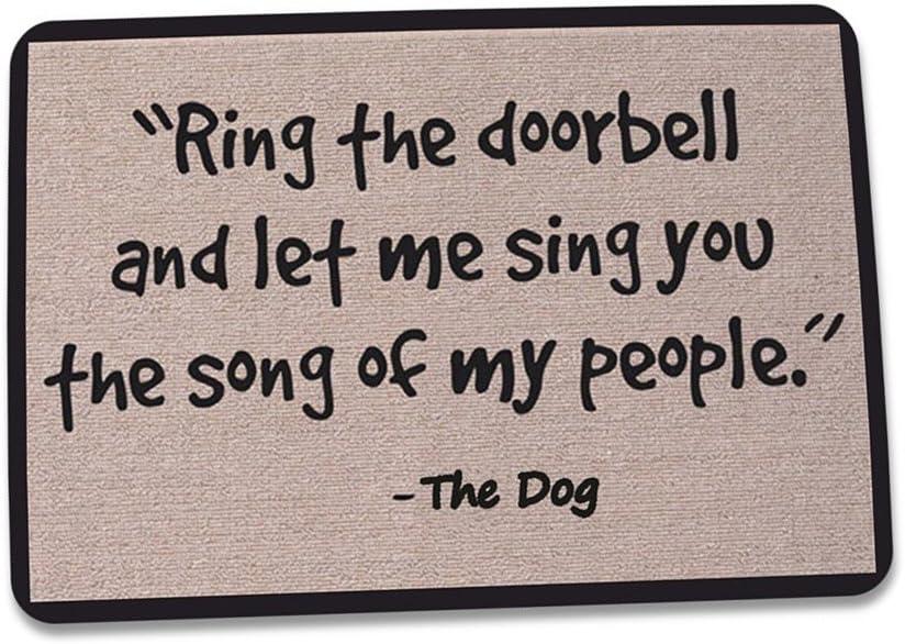 ZaH Outdoor Indoor Doormat Non Slip Door Mats Thin Home Carpets for Front Door Kitchen Bedroom Garden, 2 x 3, Ring The Doorbell and Let Me Sing You The Song of My People, The Dog